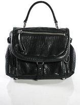 DKNY Black Leather silver Tone Zipper Accents Satchel Handbag