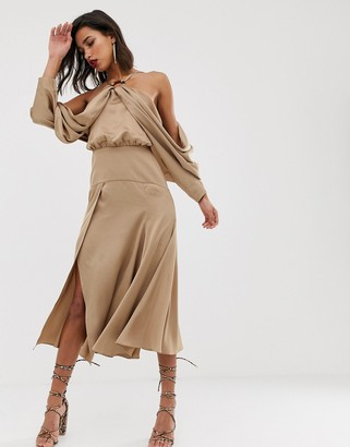 Asos Edition EDITION drape sleeve midi dress with ring detail in satin-Pink