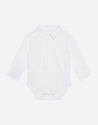 Dolce & Gabbana Cotton Shirt-Style Bodysuit