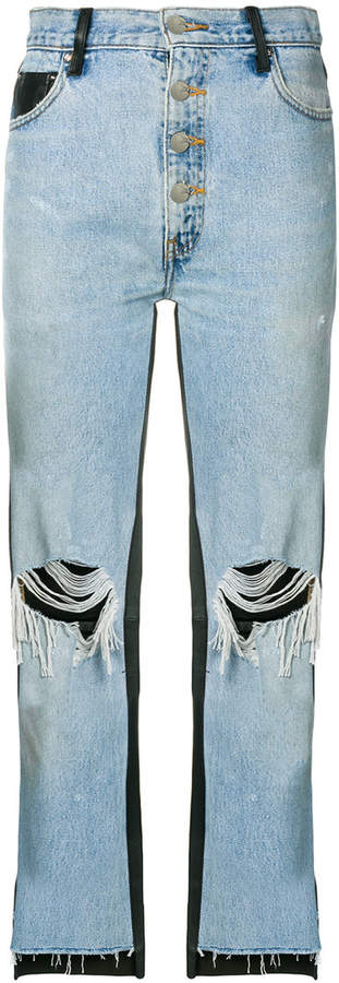Amiri leather panelled dropped jeans
