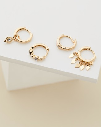 Luv Aj Evil Eye Gold Hoop Huggie Earring Pack