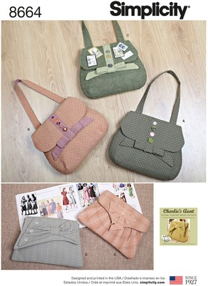 Simplicity Vintage Inspired Bags Sewing Pattern, 8664, One Size