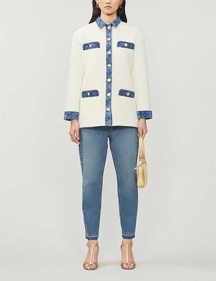 Sandro Chelby denim-trim wool-blend jacket