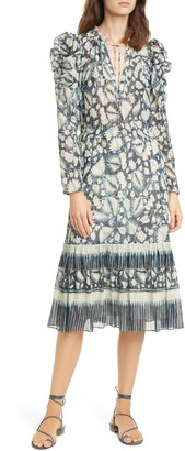 Ulla Johnson Nadia Floral Long Sleeve Midi Dress