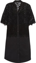 DKNY Paneled guipure lace and cotton-blend dress