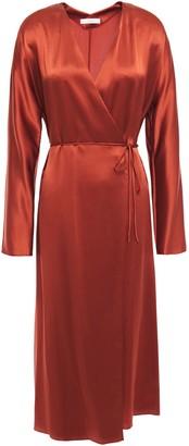 Vince Silk Satin-crepe Midi Wrap Dress