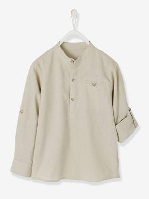 Vertbaudet Shirt in Linen/Cotton, Mandarin Collar, Long Sleeves, for Boys