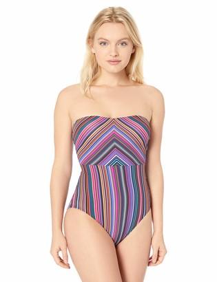T Tahari Tahari Women's Striped Bandeau One Piece Swimsuit