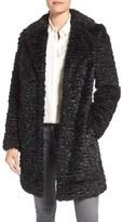Eliza J Faux Persian Lamb Coat (Regular & Petite)