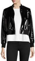 Alice + Olivia Nixon Mock-Collar Patent Leather Jacket
