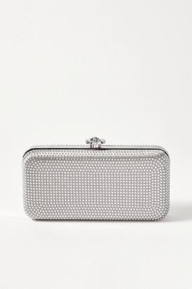 Versace Crystal-embellished Metallic Satin Clutch - Silver