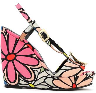Roger Vivier Buckle-embellished Floral-print Canvas Wedge Sandals