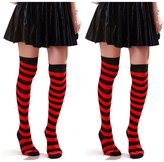 HDE Women's 2 Pack Opaque Two Tone Horizontal Striped Thigh High Stocking Socks