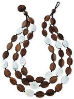 Viktoria Hayman Tiger Wood & Mother-of-Pearl Triple Strand Necklace