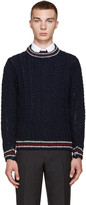 Thom Browne Navy Cable Knit Sweater