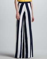 Super-Flare Wide-Leg Striped Pants