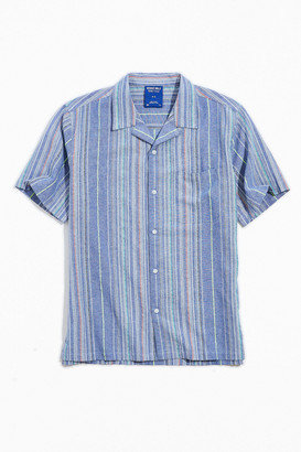 Without Walls Textured Natural Stripe Short Sleeve Button-Down Shirt