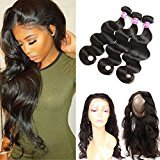 Ossilee Hair 8A Grade 360 Lace Frontal Closure with Bundles Malaysian Body Wave Hair Bundles with 360 Lace Frontal Unprocessed Human Hair Bundles with Frontal (18 18 18+16 360frontal, Natural Color)