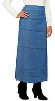 Denim & Co. Stretch Denim Long Tiered Flat Front Skirt