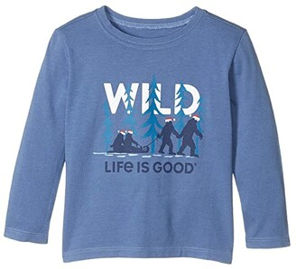 Life is Good Wild Family Long Sleeve Crusher Tee (Toddler) (Vintage Blue) Kid's Clothing