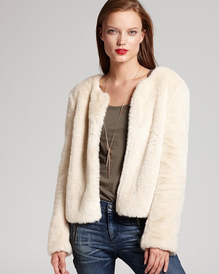 DKNY DKNYC Long Sleeve Faux Fur Jacket