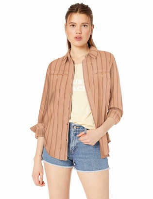 RVCA Women's Boarding Now Woven Long Sleeve Button Front Shirt