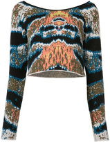 Baja East cashmere cropped tiger stripe sweater