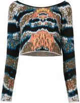 Baja East cropped tiger stripe sweater - women - Cashmere - 00