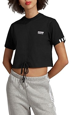 adidas Ruched Drawstring Cropped Tee