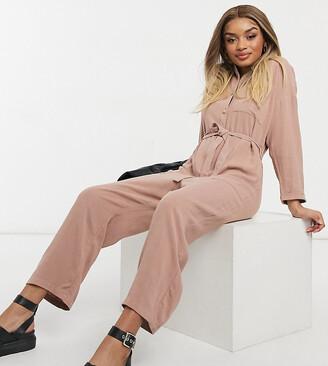 ASOS DESIGN Petite slouchy button front tie waist jumpsuit in linen