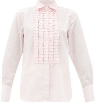 Officine Generale Laeticia Ruffled Cotton-poplin Shirt - Light Pink