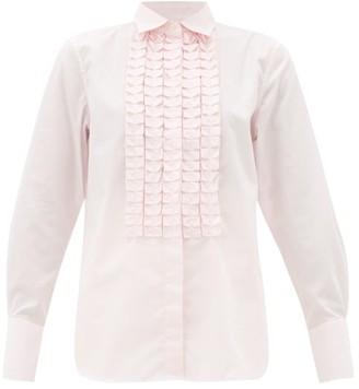 Officine Generale Laeticia Ruffled Cotton-poplin Shirt - Womens - Light Pink