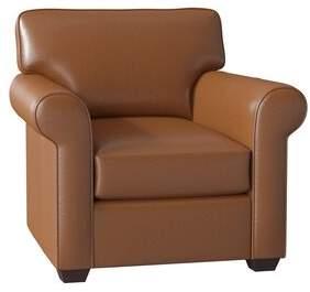 Wayfair Custom Upholstery Rachel Leather Club Chair Body Fabric: Steamboat Chestnut
