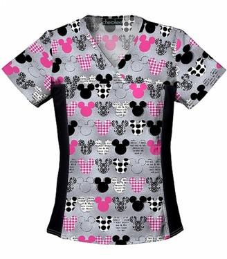 Cherokee Women's V-Neck Knit Panel Top Mickey