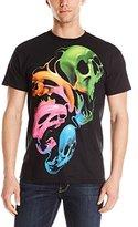 Liquid Blue Men's Plus-Size Liquid Neon Skulls T-Shirt
