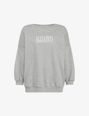 AllSaints Storn logo-embroidered cotton-jersey jumper
