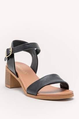 francesca's Alyson Low Block Heel Peep Toe - Black