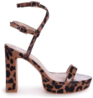 Chloé Linzi Brown Leopard Platform Heels With Double Crossover Ankle Straps