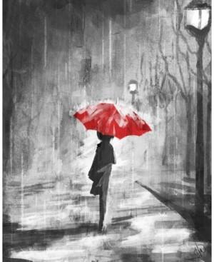 "Creative Gallery A Rainy Walk with a Red Umbrella 20"" x 16"" Canvas Wall Art Print"