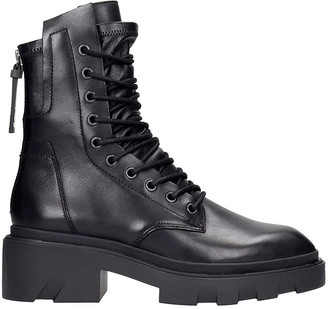 Ash Madness 01 Combat Boots In Black Leather