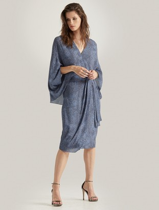 Halston Printed Draped Sleeve Dress