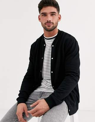 Asos Design DESIGN jersey bomber jacket in black with poppers