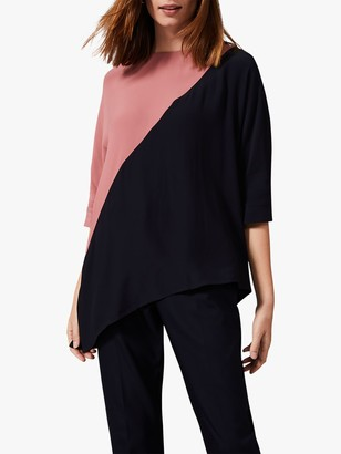 Phase Eight Gilly Colour Block Blouse, Navy/Pink