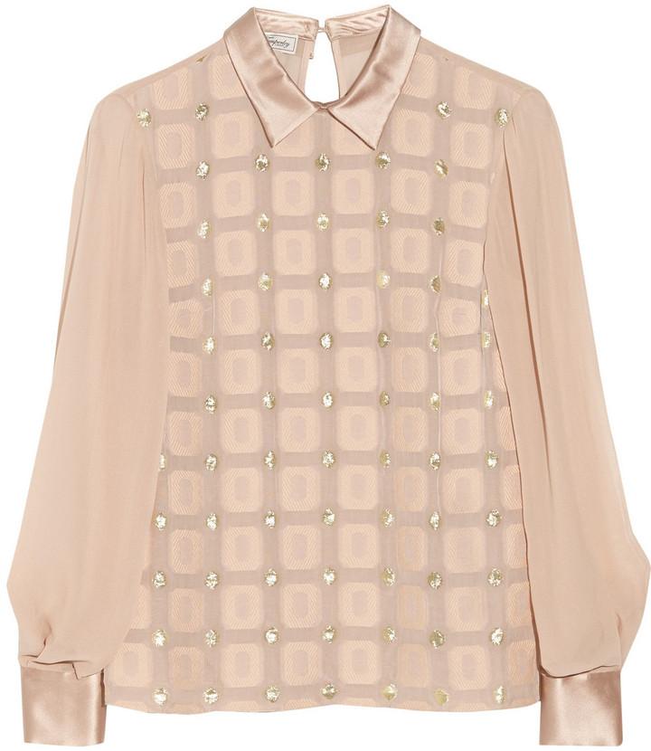 Temperley London Orion Geometric silk-blend brocade top