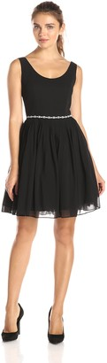 Minuet Women's Scoop Neck Dress with Pleated Skirt and Beaded Belt