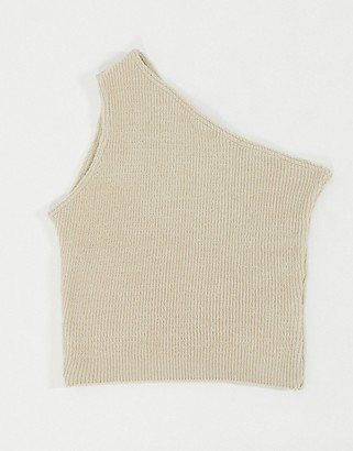 I SAW IT FIRST one shoulder knitted top in beige
