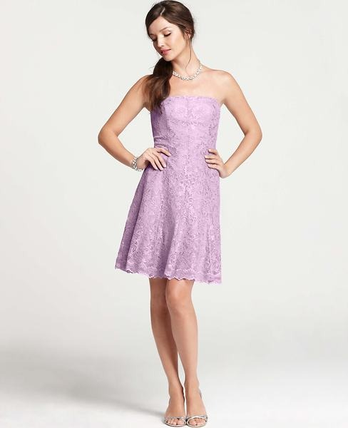 Ann Taylor Petite Lace Strapless Flared Dress