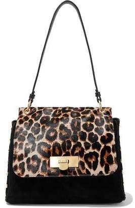 Donna Karan Baylee Leopard-print Calf Hair-paneled Suede Shoulder Bag