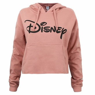 Disney Women's Plain Logo Cropped Hood Sweatshirt