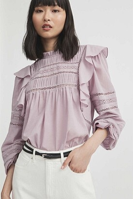 Witchery Lace Trim Long Sleeve Blouse
